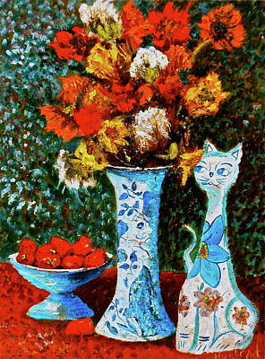 Painting - Flower Cat by Brian Hustead
