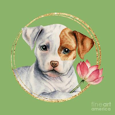 Watercolor Pet Portraits Mixed Media - Flower Child 2 by NamiBear