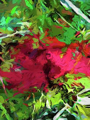 Digital Art - Flower Christmas Red Green Pink by Jackie VanO