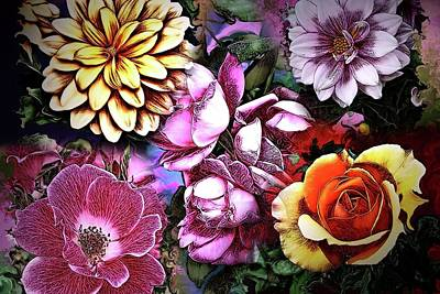 Digital Art - Flower Collage Digital Painting by Artful Oasis