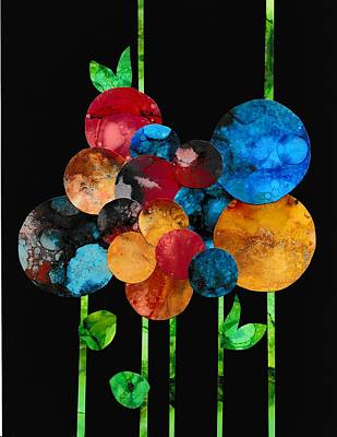 Collage Painting - Flower Collage With Alcohol Inks by Louise Adams