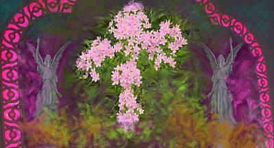 Mary Mixed Media - Flower Cross Fancy by Anne Cameron Cutri