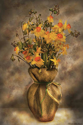 Flower - Daffodils In A Burlap Vase Art Print by Mike Savad