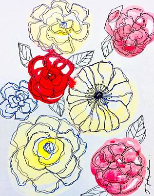Painting - Flower Doodles by Julie Hoyle