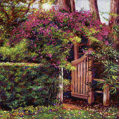 Flower Draped Gateway Original by David Lloyd Glover