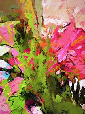 Digital Art - Flower Ecstasy Pink Tropical Green by Jackie VanO
