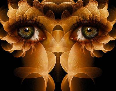 Trippy Digital Art - Flower Face by Bear Welch