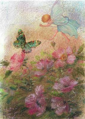 Flower Fairy Butterfly Roses Art Print