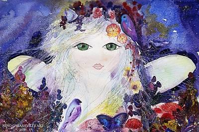 Flower Fairy Art Print by Nino Gabashvili