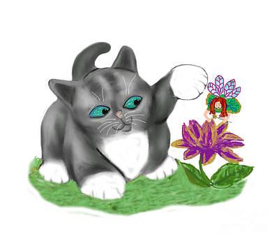 Digital Art - Flower Fairy Zaps A Flower by Ellen Miffitt