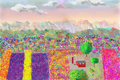 Digital Art - Flower Farm by John Orsbun
