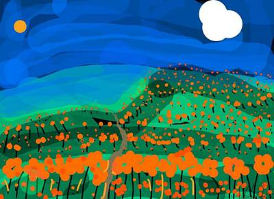 Digital Art - Orange Poppy Field by Kathy Barney
