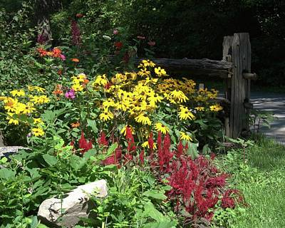 Photograph - Flower Garden And Fence by Valerie Kirkwood
