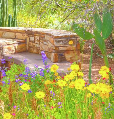 Digital Art - Flower Garden Digital Watercolor by Randy Herring