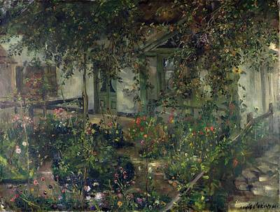 Overhang Painting - Flower Garden In Bloom by Franz Heinrich Louis