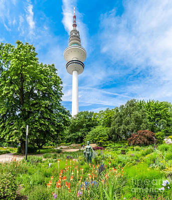 Flower Garden In German Park With Tower Art Print by JR Photography