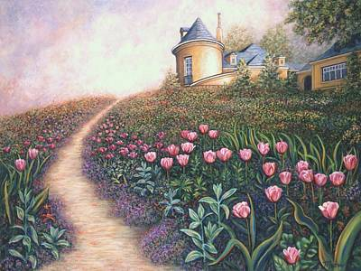 Impressionistic Landscape Painting - Flower Garden Pathway by Linda Mears