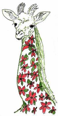 Drawing - Flower Giraffe by Julia Woodman