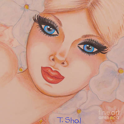Drawing -  Flower Girl 5 by Tara Shalton