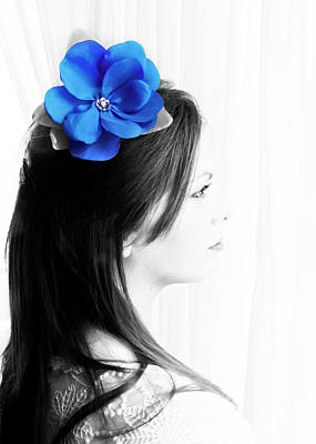 Photograph - Flower Girl Blue Selective Colour by Terri Waters