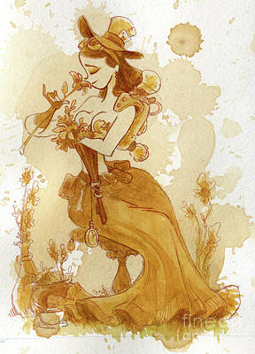 Steampunk Wall Art - Painting - Flower Girl by Brian Kesinger