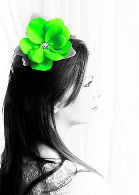 Photograph - Flower Girl Green Selective Colour by Terri Waters