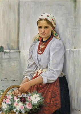 Painting - Flower Girl by Ilya Savich Galkin
