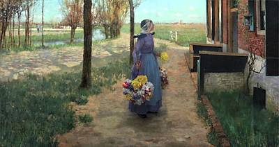 Netherlands Painting - Flower Girl In Holland by George Hitchcock