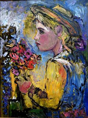 Painting - flower girl Manet by Mykul Anjelo