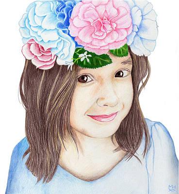 Drawing - Flower Girl by Marilyn Hilliard