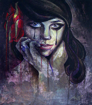Crying Painting - Flower Girl by Matt Truiano