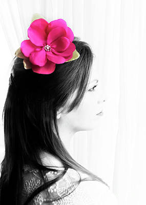 Photograph - Flower Girl Pink Selective Colour by Terri Waters
