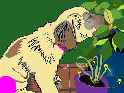 Golden Retriever Digital Art - Flower Girl by Su Humphrey