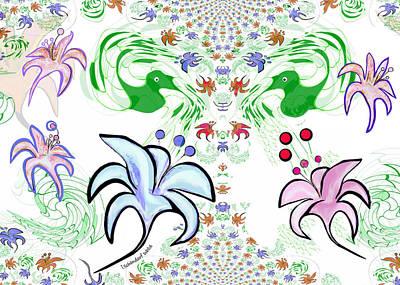 Digital Art - 2543 Flower Greeting Card by Irmgard Schoendorf Welch