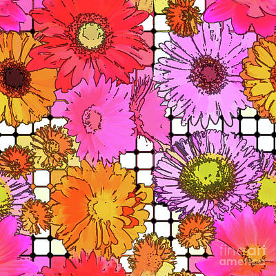 Digital Art - Flower Grid Abstract by Susan Lafleur