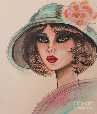 Drawing -  Flower Hat Abstract by Tara Shalton
