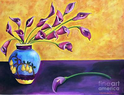 Painting - Flowers In Blue Vase by Judy Morris