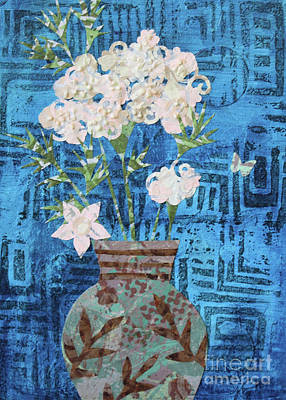 Mixed Media - Flower In Turquoise And Brown Vase by Janyce Boynton