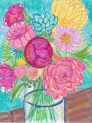 Drawing - Flower In Vase by Rosalina Bojadschijew