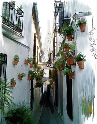 Digital Art - Flower Lane In Cordoba by Gina Harrison