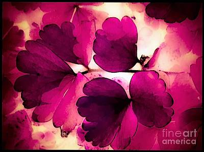 Flower Leaves In Pink And White Abstract Art Print by Debra Lynch