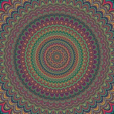 Psychedelic Digital Art - Flower Mandala by David Zydd