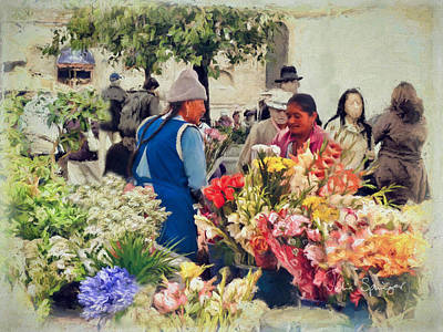Photograph - Flower Market - Cuenca - Ecuador by Julia Springer