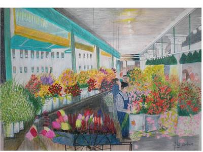 Flower Market Art Print by Hal Newhouser