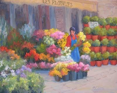 Flower Market On Rue Cler Print by Bunny Oliver
