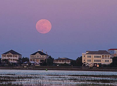 Photograph - Flower Moon Over Garden City Beach by Bill Barber
