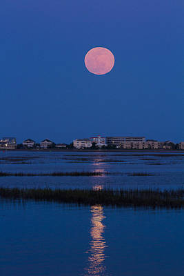 Photograph - Flower Moon Rising Over Murrells Inlet by Bill Barber