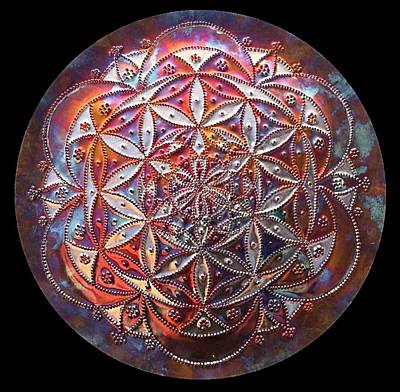 Sculpture - Flower Of Life Copper Lightmandala by Robert Thalmeier