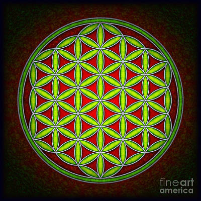 Tantra Digital Art - Flower Of Live - Green At Dawn by Dirk Czarnota