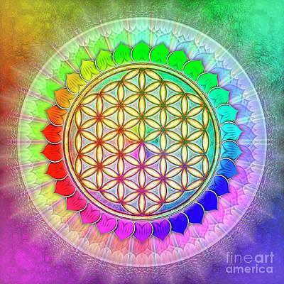 Chakra Rainbow Digital Art - Flower Of Live - Rainbow Lotus 2 by Dirk Czarnota